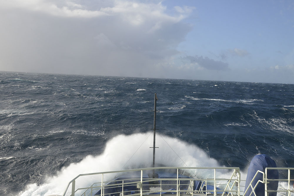 The first day out from Anacortes gave the crew a chance to learn how their new home took the weather.
