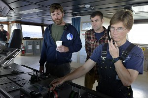 Captain Kent Sheasley, relief chief mate Derek Bergeron, and second mate Jen Hickey (left to right) learn the ins and outs of their new ship so more scientists can get out on the ocean